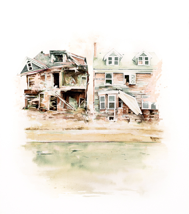 """Stefan Herda,  Detroit Clapshack . Homemade Inks and Dyes on Arches paper. 30"""" x 22"""". 2010."""