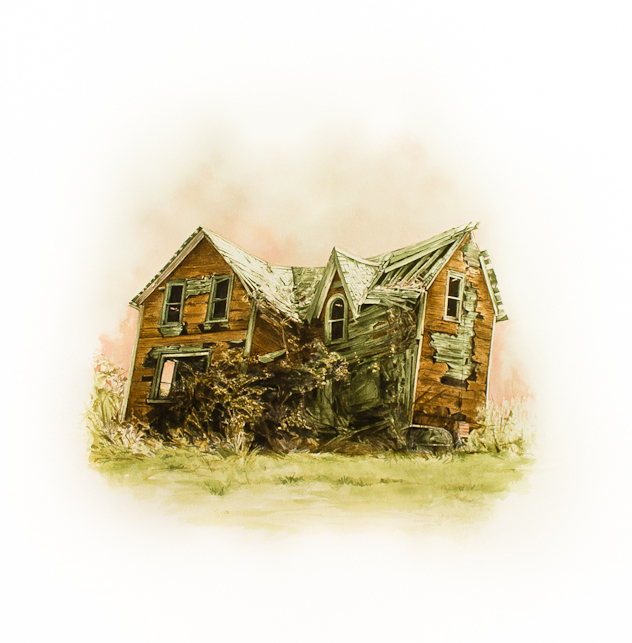 """Stefan Herda,  Highway Ten Clapshack #2 . Homemade Inks and Dyes on Arches paper. 30"""" x 22"""". 2012."""