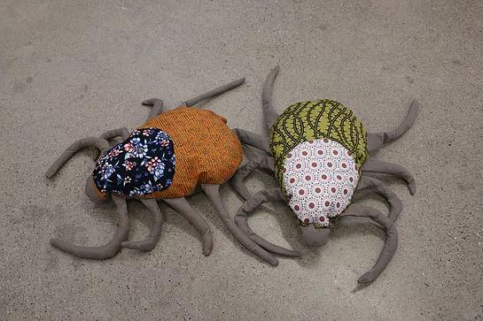 Tyler Muzzin   Stuffed Ticks  (2018)  scraps of fabric, stuffing