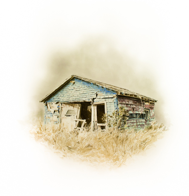 "Stefan Herda,  Highway Ten Clapshack #3.  Homemade Inks and Dyes on Saunders paper. 30"" x 22"". 2013."