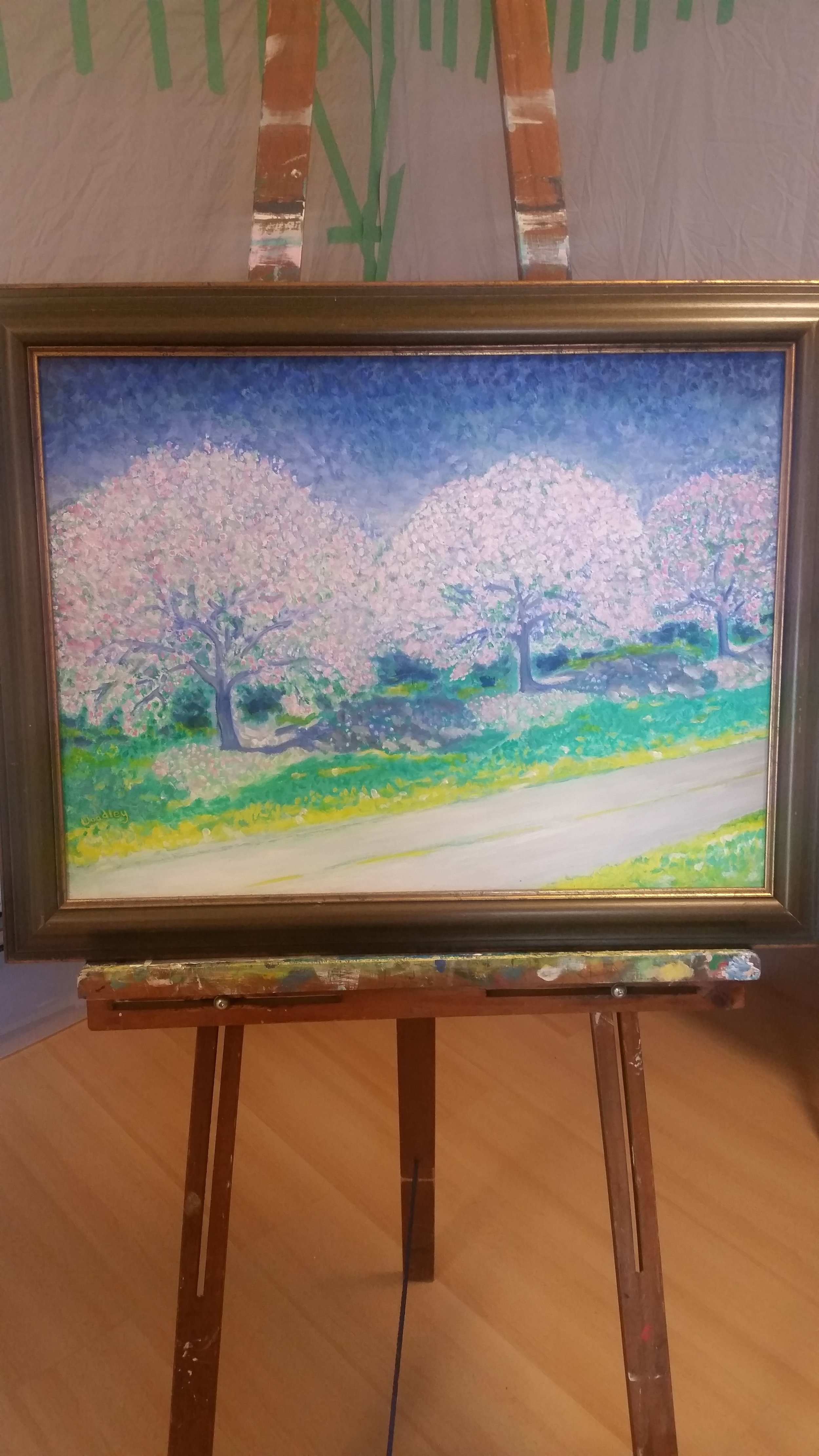 On the easel in Sharon Woodley's studio