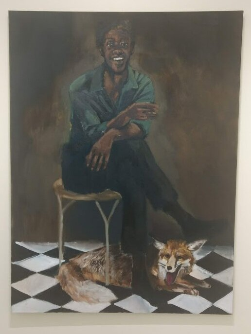 A Lynette Yiadom-Boakye oil painting from her  In Lieu of a Louder Love  exhibit at Jack Shainman Gallery. Photo by Janyce Denise Glasper
