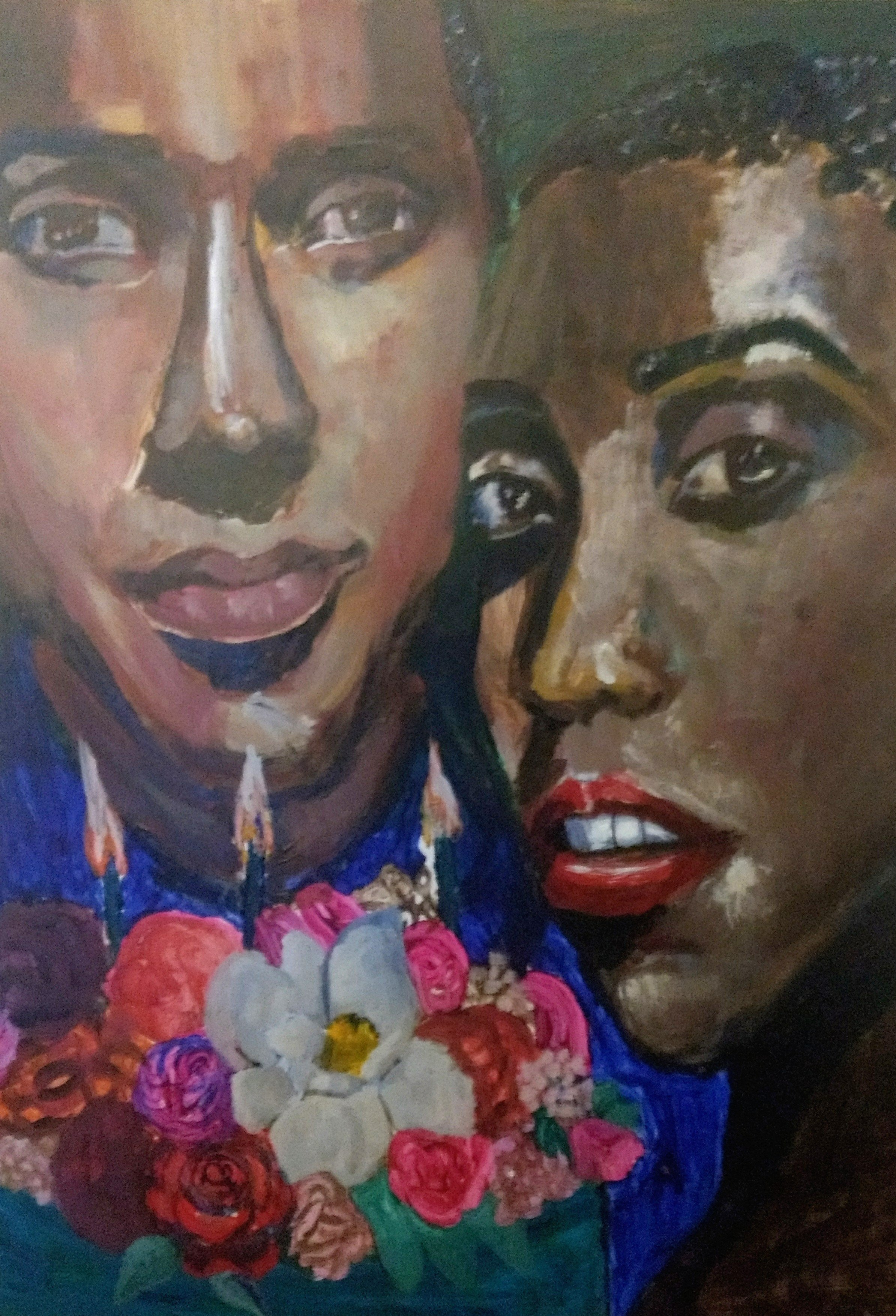 Flowers On His Cake , acrylic on wood panel, 2019 by Janyce Denise Glasper