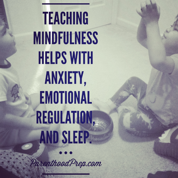 "Image of two Sacramento children meditating with therapist and the quote: ""teaching mindfulness helps with anxiety, emotional regulation, and sleep"""