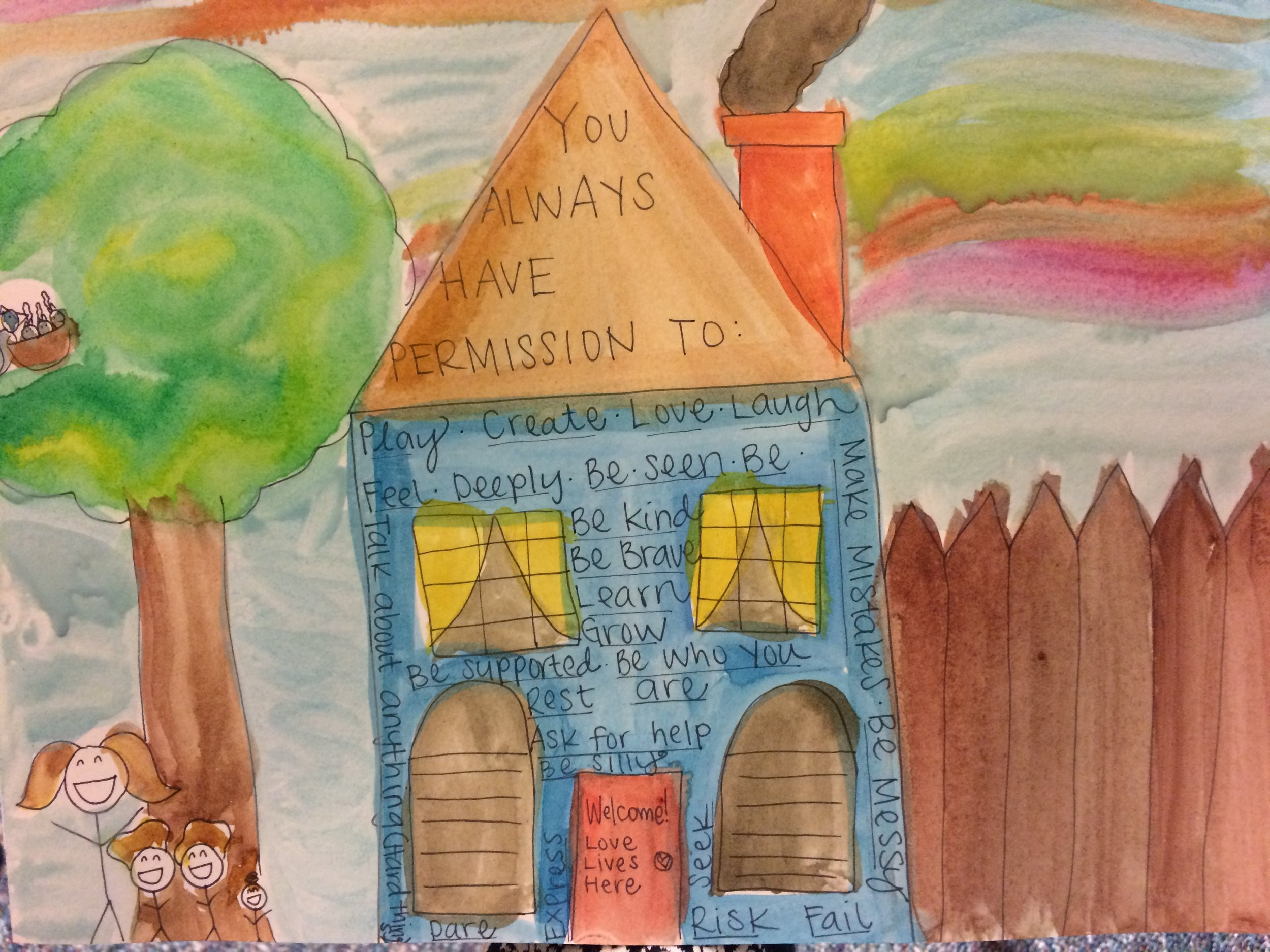 "Watercolor of family, tree, house with words ""You always have permission to: play, create, love, laugh, fail"" ect"