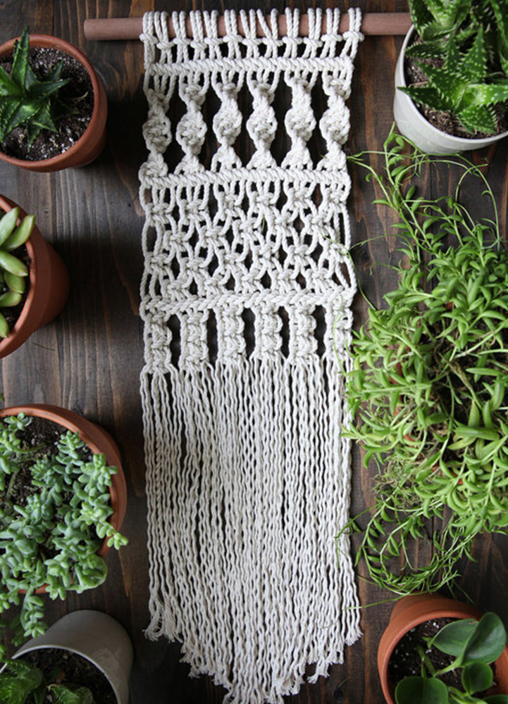 - Small White Boho Macrame Wall Hanging hung on a Wodden Dowel 12