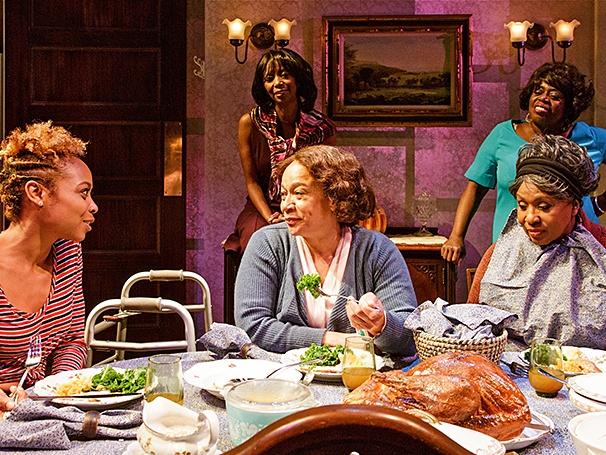 """As Tonya in """"While I Yet Live"""" alongside S. Epatha Merkerson, Sharon Washington, Lillias White, and Elain Graham. Photo Credit: James Leynse"""