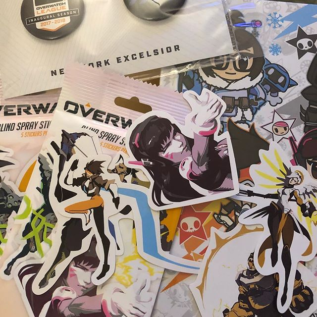 Overwatch goodies. Stickers, notebook and pins! OH MY! #playoverwatch #overwatch #nyxl #overwatchleague