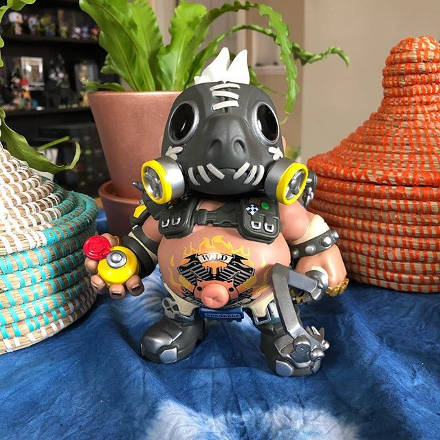 """I'm a one-man apocalypse"" I like to imagine that Roadhog once had a garden and a bunch of animals. #roadhog #overwatch #funkopop #collector #gamerlife #hero #fps #hogwild #piggy"