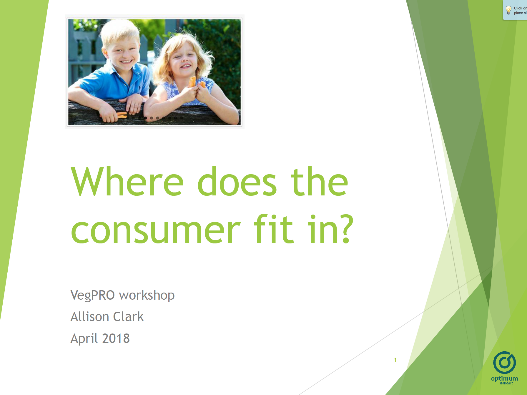 Allison Clark - Where does the consumer fit? - Presented at the Women in Vegetable Businesses Lunch April 2018Allison provides an overview of innovative product development, consumer insights, and data available.