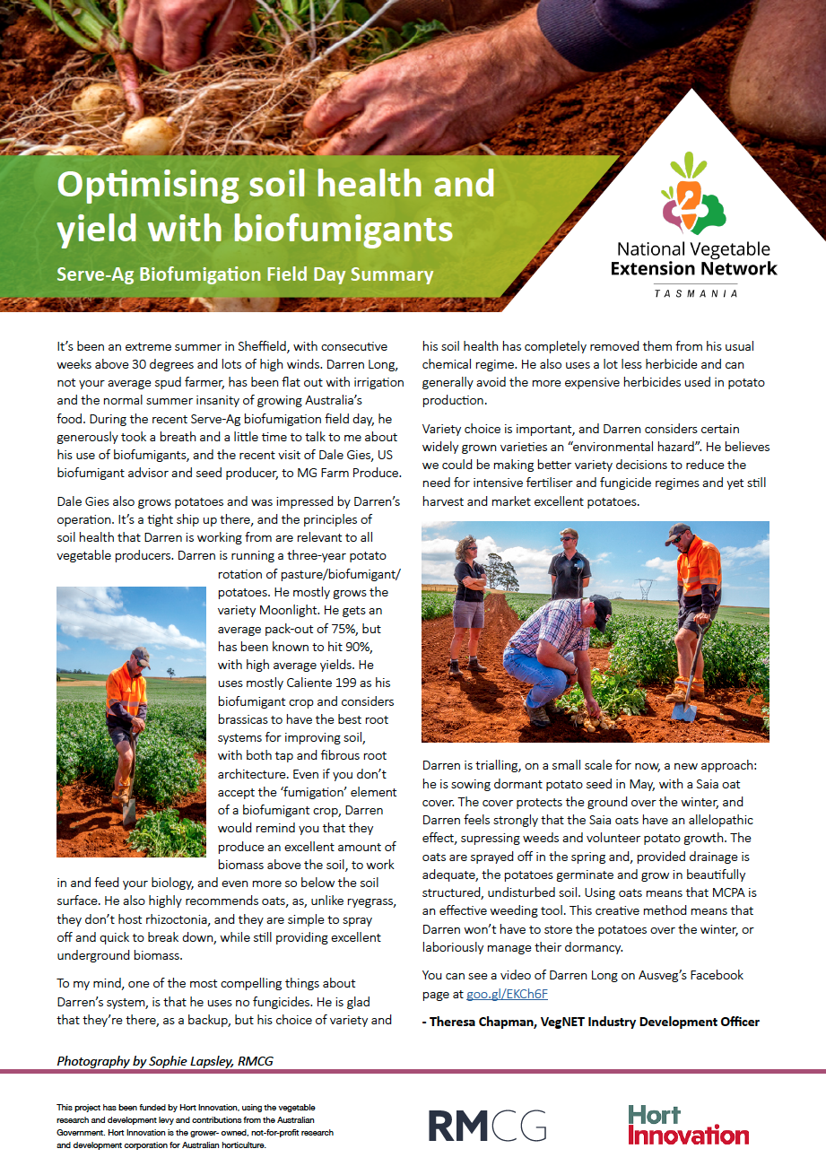 Optimising soil health and yield with biofumigants