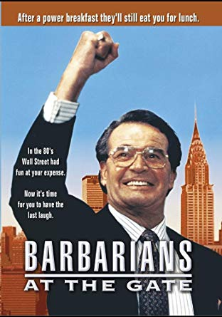Barbarians at the Gate - I highly recommend this movie for any serious student of business, especially finance and corporate mergers & acquisitions. RJR Nabisco tries to pull off the largest corporate LBO (leveraged buyout) and the very real boardroom battles that unfolded with some surprises navigated by F. Ross Johnson, CEO of RJR Nabisco, Henry Kravis of Kohlberg, Kravis & Roberts (KKR), and Jim Robinson, Chairman & CEO of American Express.  The stakes are huge and the tables turn quickly as a bidding war breaks out between the financial sharks of Wall Street duke it out between KKR, American Express's Shearson Lehman Hutton group, and Ted Forstmann with Forstmann Little.