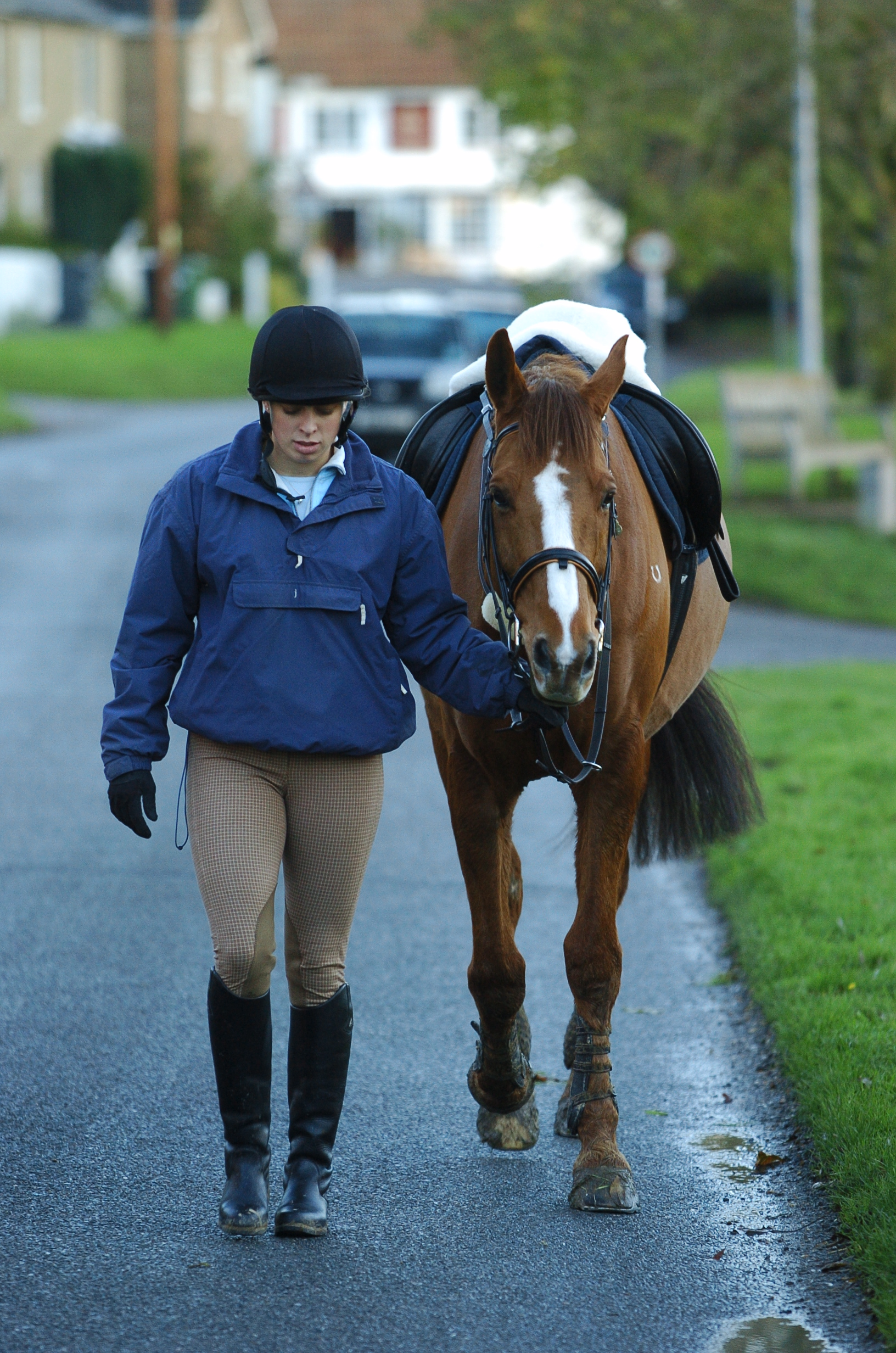 Sometimes, getting off to lead a napping horse can be the most sensible option