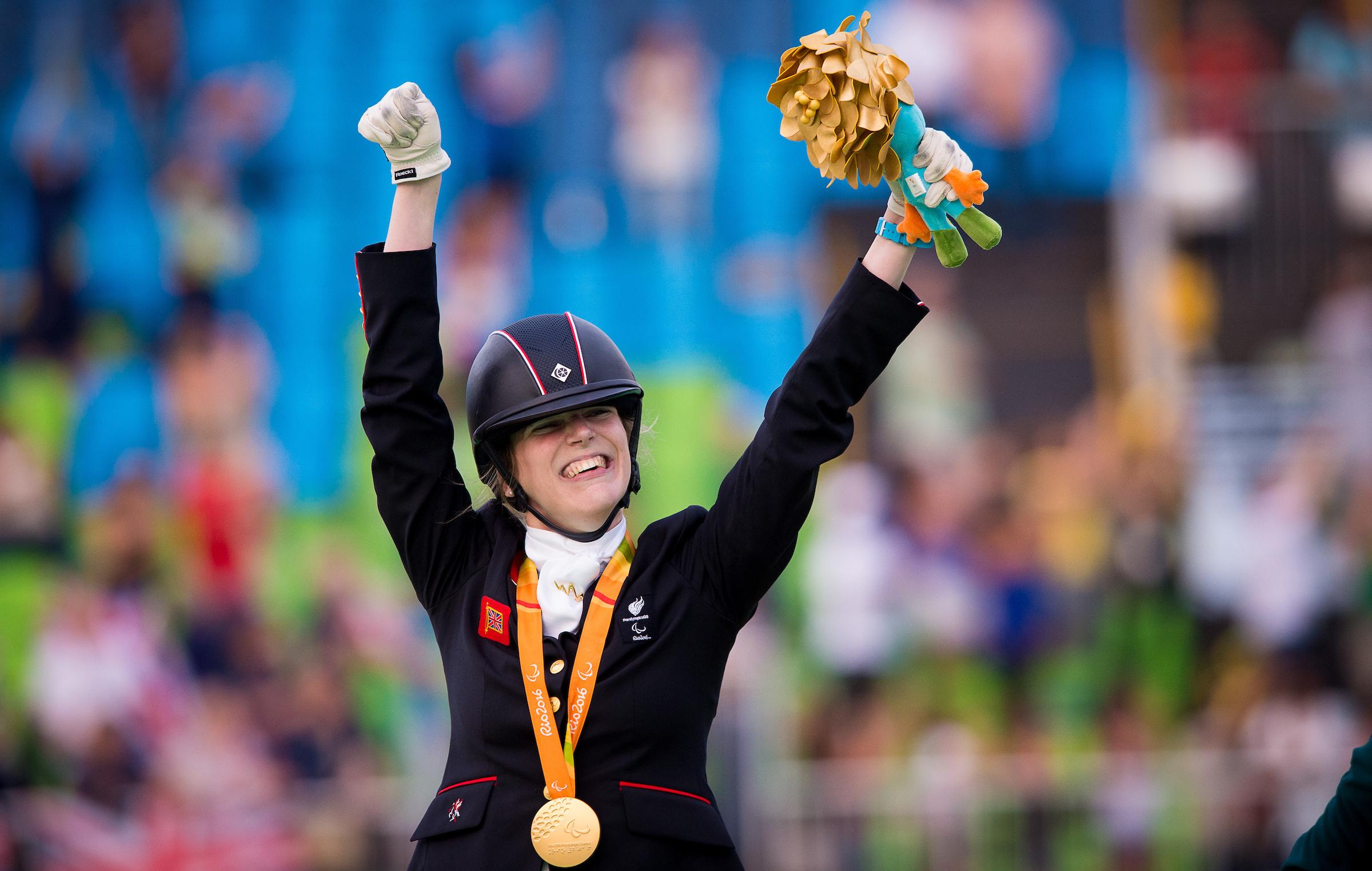 Sophie Christiansen wins gold (Credit: BEF/Jon Stroud Media)