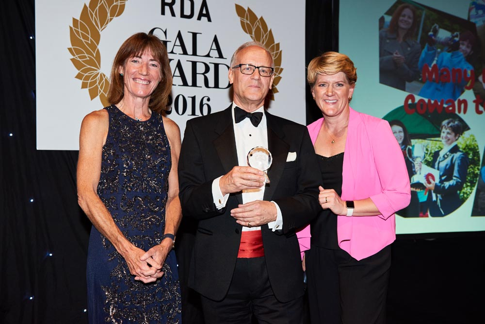 David Cowan collects his award from Clare Wiliams of BETA (left) and Clare Balding