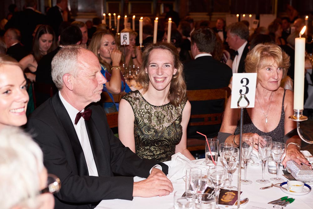 Sophie Christiansen enjoys the evening with her father
