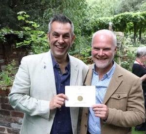 Garden Designers (L-R) Jonathan Smith and Adam Woolcott with the gold medal (Pic: World Horse Welfare)