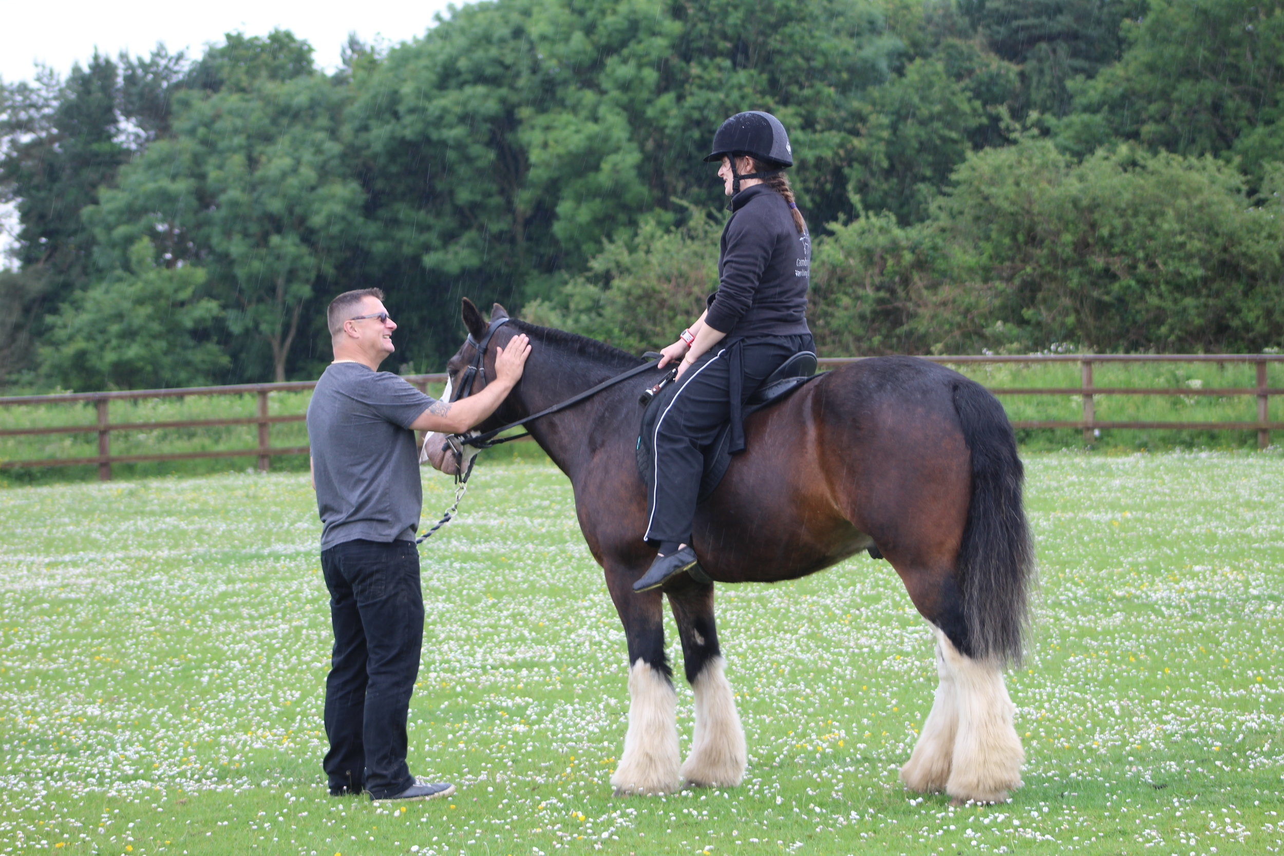 Our volunteers are better than yours! Having a ride in the rain after a vaulting demo at the Magpie Centre Open Day