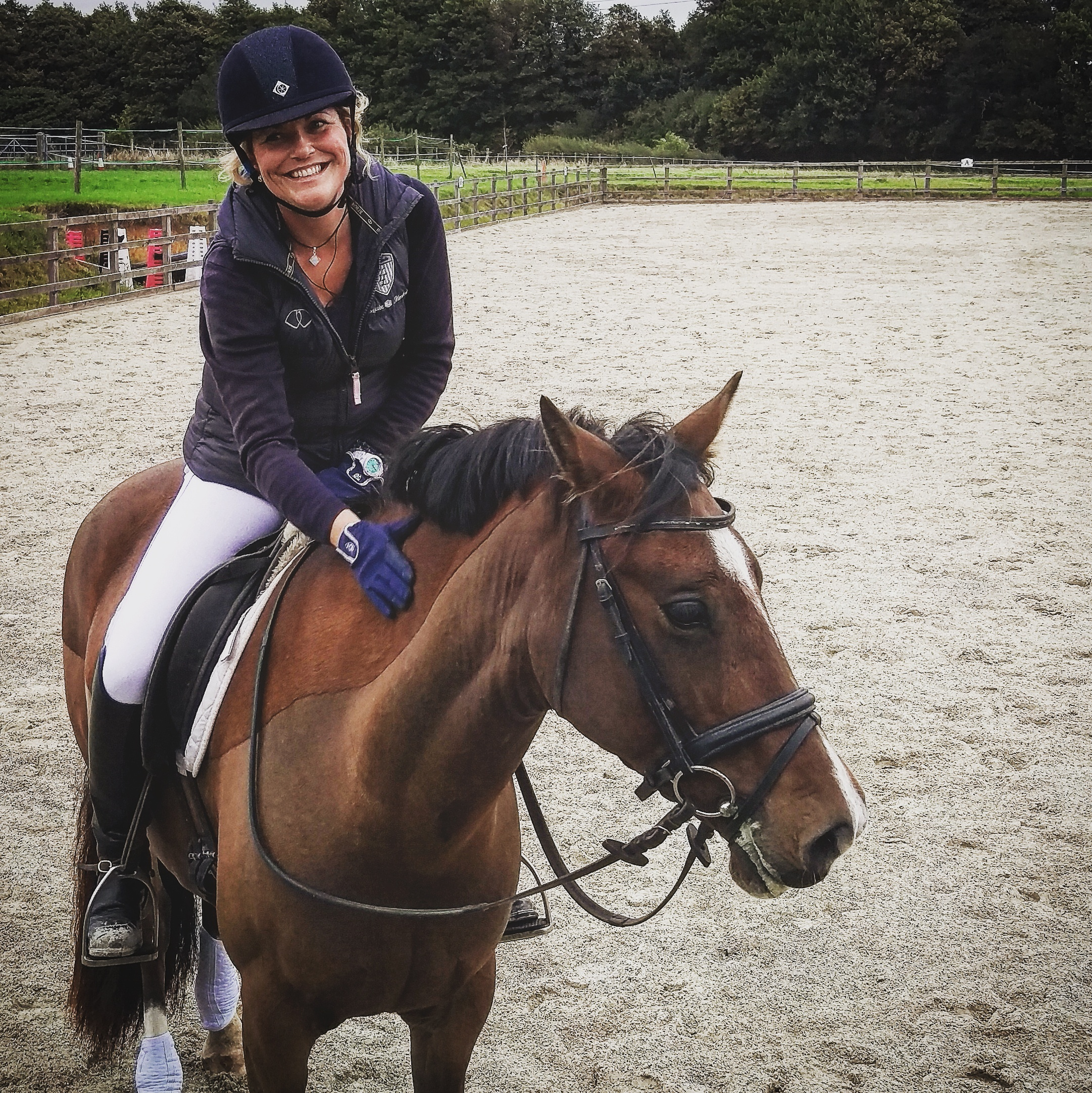 The smile says it all - Sarah is back in the saddle