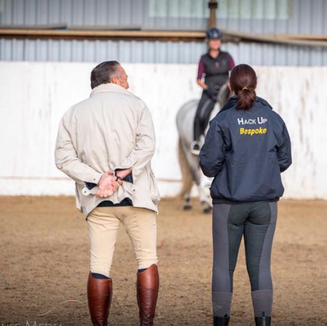 Maddi Burchell training with Joaquin Vazquez, Senior Instructor of the World Famous Royal Andalusian School of Equestrian Art wearing her Hack Up Bespoke jacket © Black Grouse Media