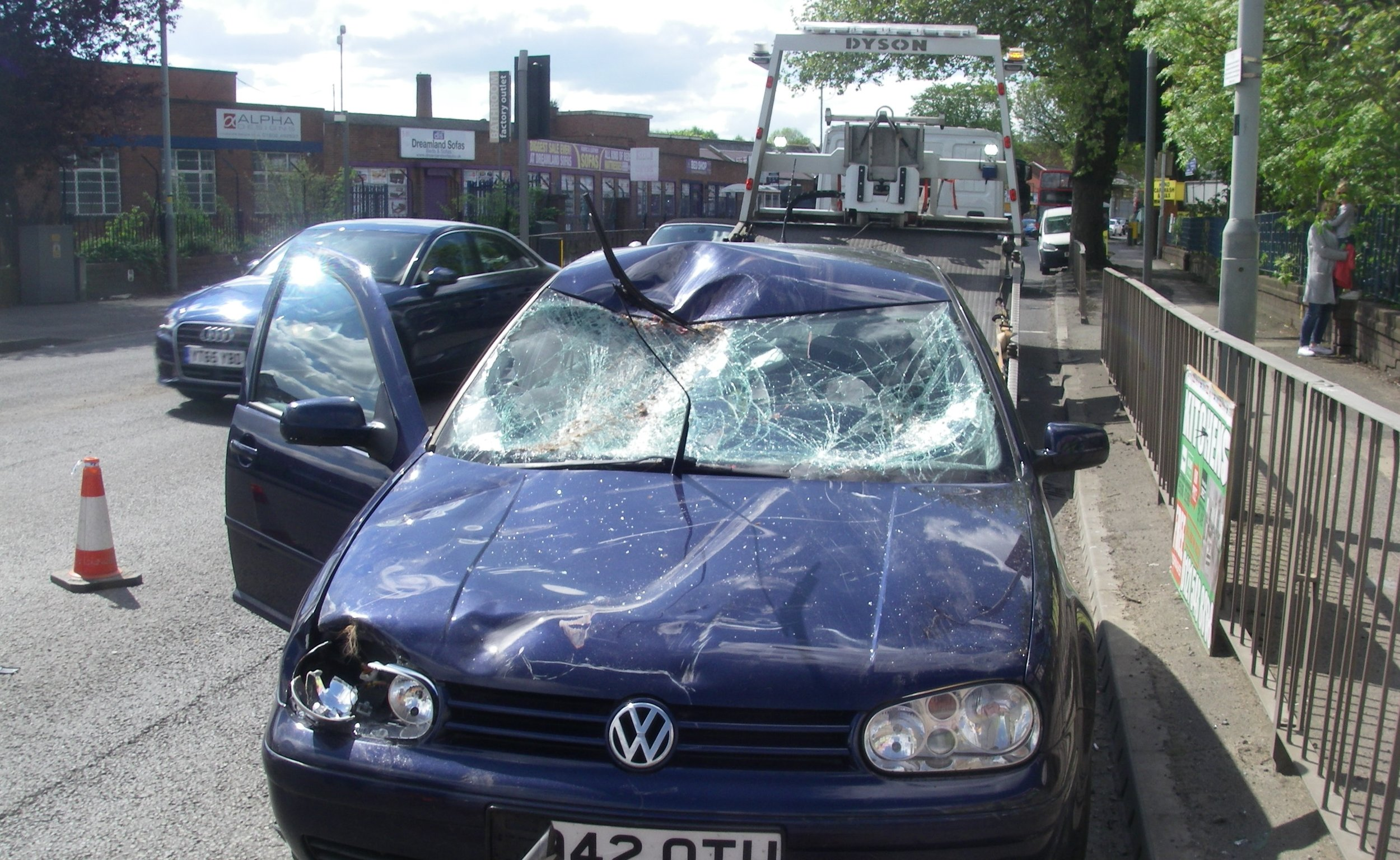 The impact smashed the windscreen of an oncoming vehicle and left the mare lying in the road