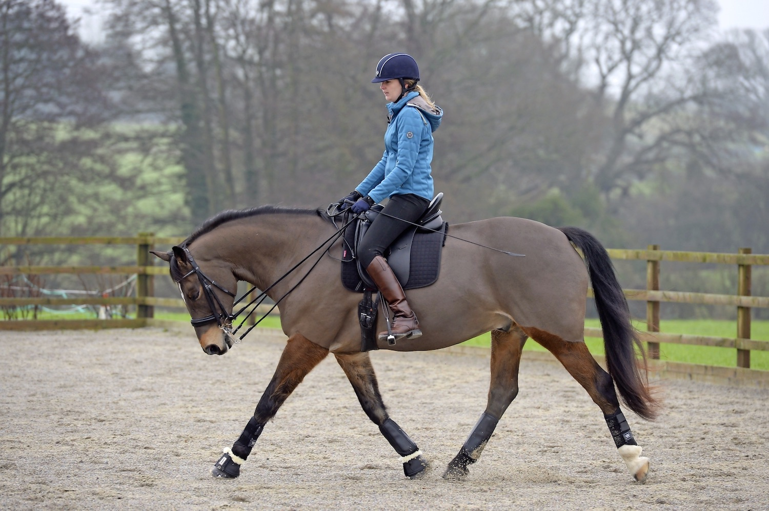 Allow your horse to stretch as you ride out onto the bigger circle