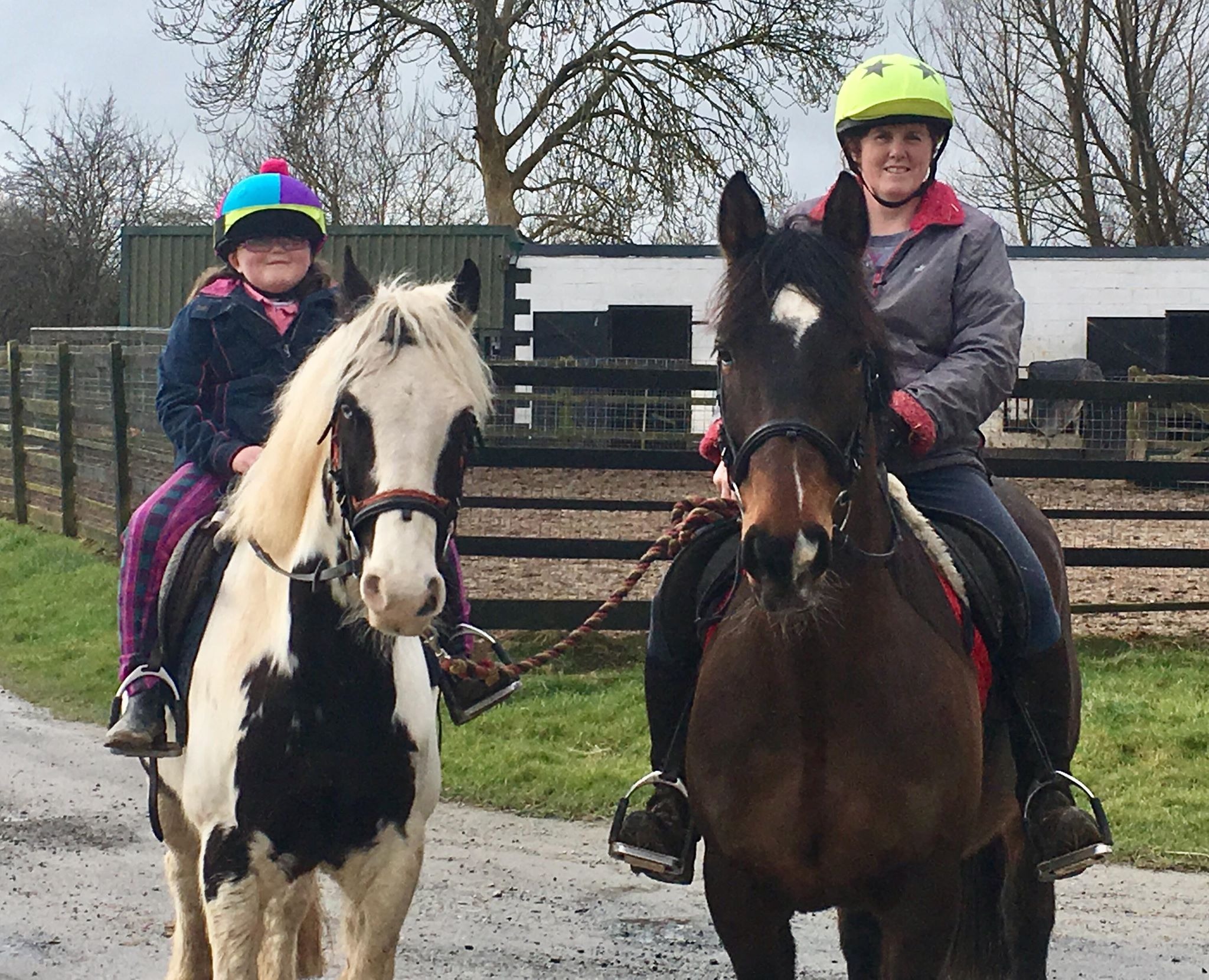 Anne-Marie on Badger with daughter Emma on Duke