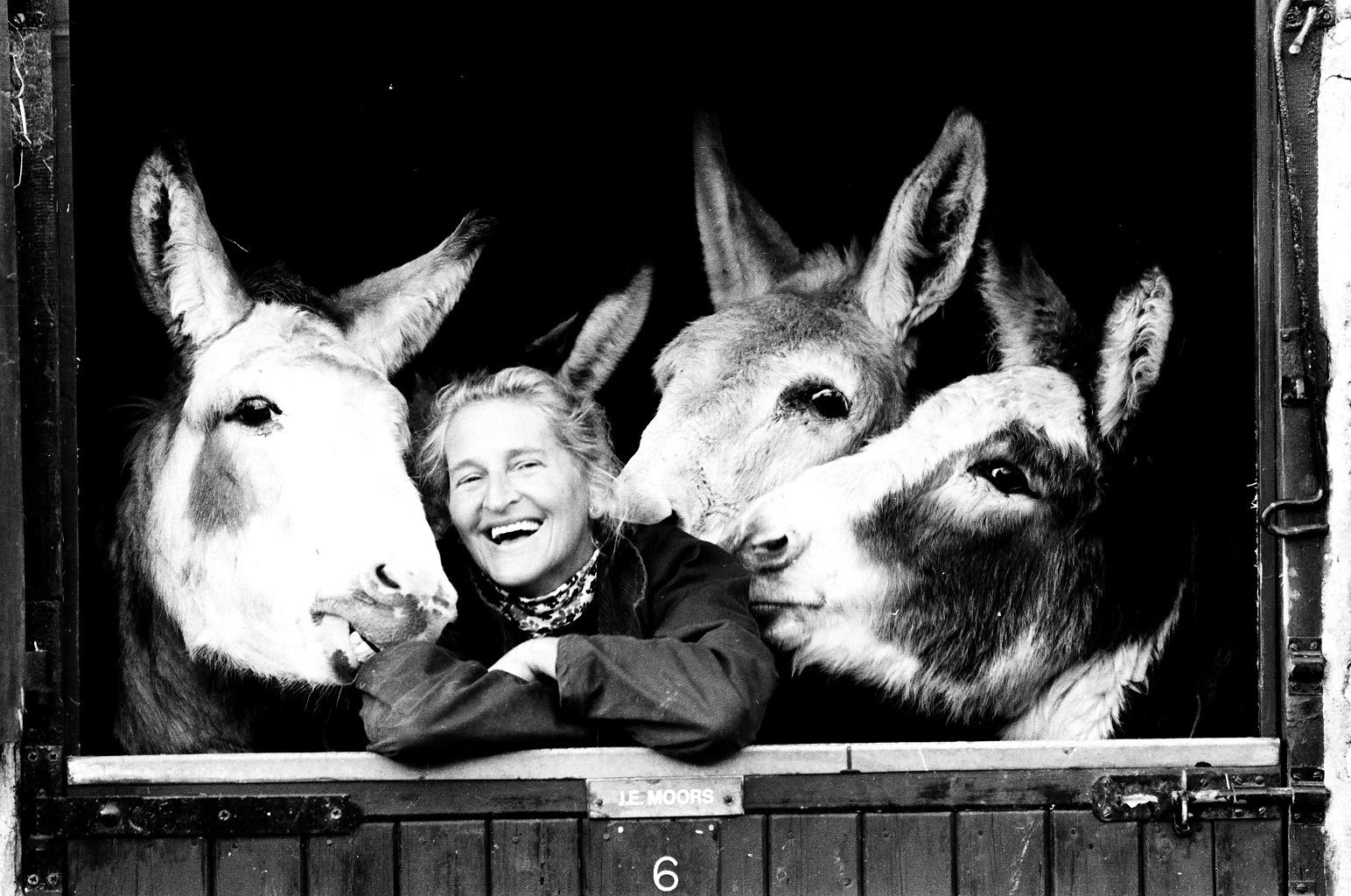 Dr Svendsen with donkeys in 1986 - The Donkey Sanctuary.jpg