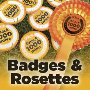Mark your journey - Whether you're a finisher, or simply want to tell the world you're hacking 1,000 miles this year, a badge and rosette is for you - for fewer £s than a cup of coffee!