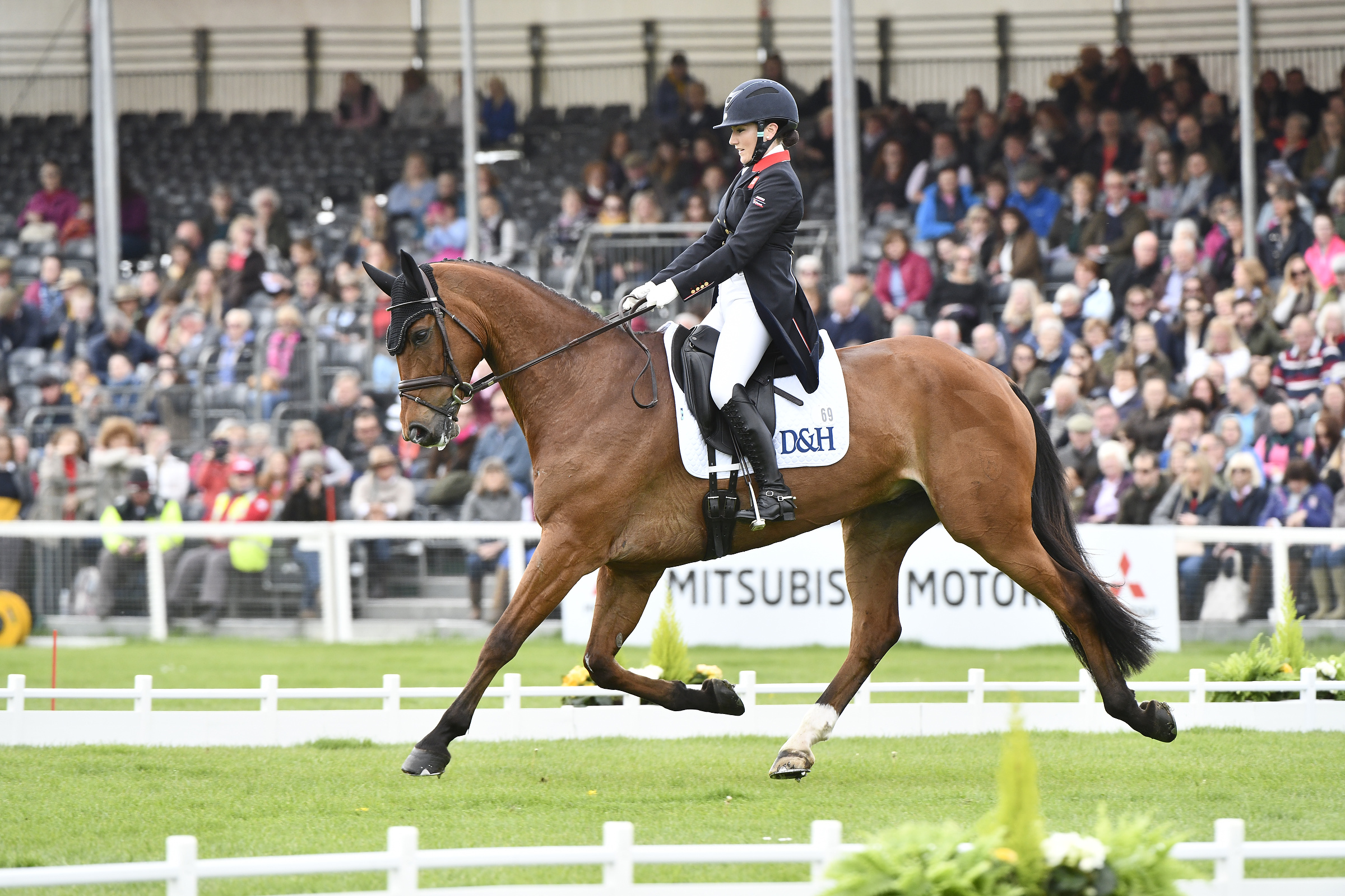 "8, Laura Collett - Mr Bass fills eighth on 27.6pens (72.44%).""He's built like a wheelbarrow, so trying to get him to sit behind and come up in front is hard, but he knows we have to do the dressage to get to the fun bits,"" smiled Laura."