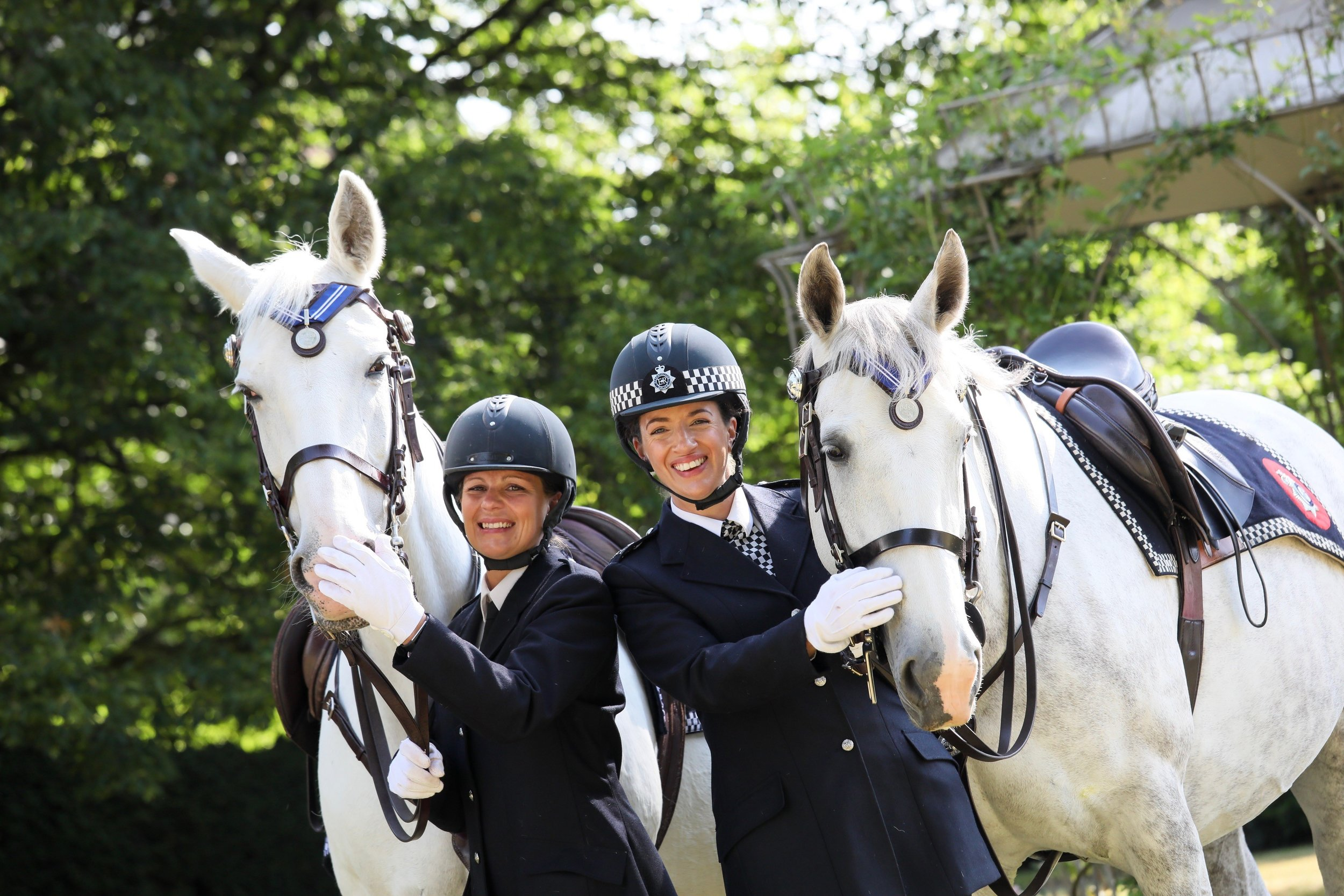 Karen Last with Grace (left) and PC Helen Ridge with Tempest (right).jpg