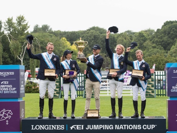 The Swedish team swept to a definitive victory in the Longines FEI Jumping Nations Cup of Great Britain, winning the Edward Prince of Wales Trophy for the first time.
