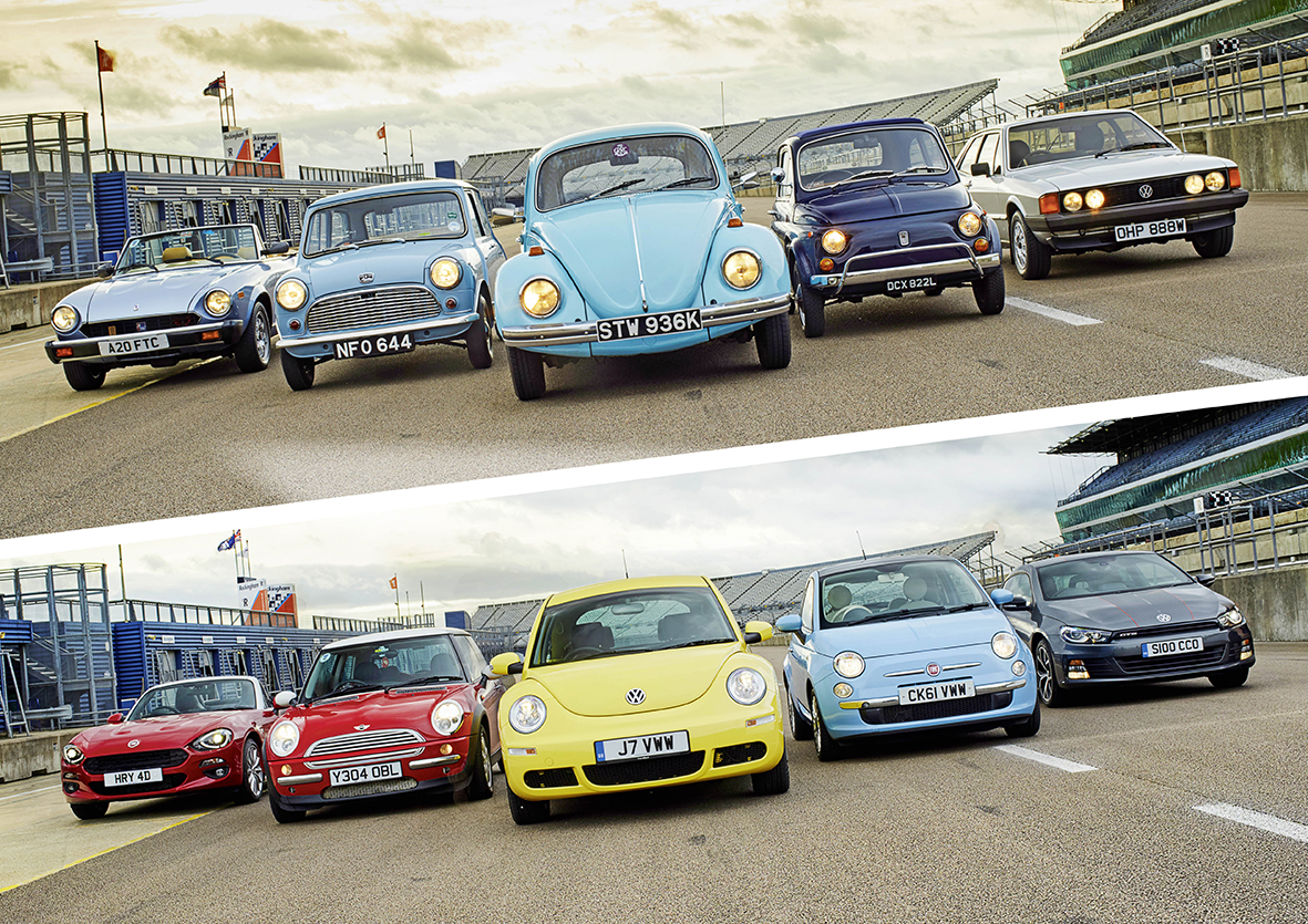 Five enjoyable and significant classics, five moderns riding on their ancestors' glory. That makes 10 cars to make you feel good. Which re-make does the best job of recreating the spirit of the original? And, crucially, which one makes you happiest? The Mini, the new one created by people who absolutely 'got' the idea, who mimicked the original mechanical layout and even built it in the same factory… You would think it'd be the winner. But is it really? Buy the latest issue of the magazine to find out…