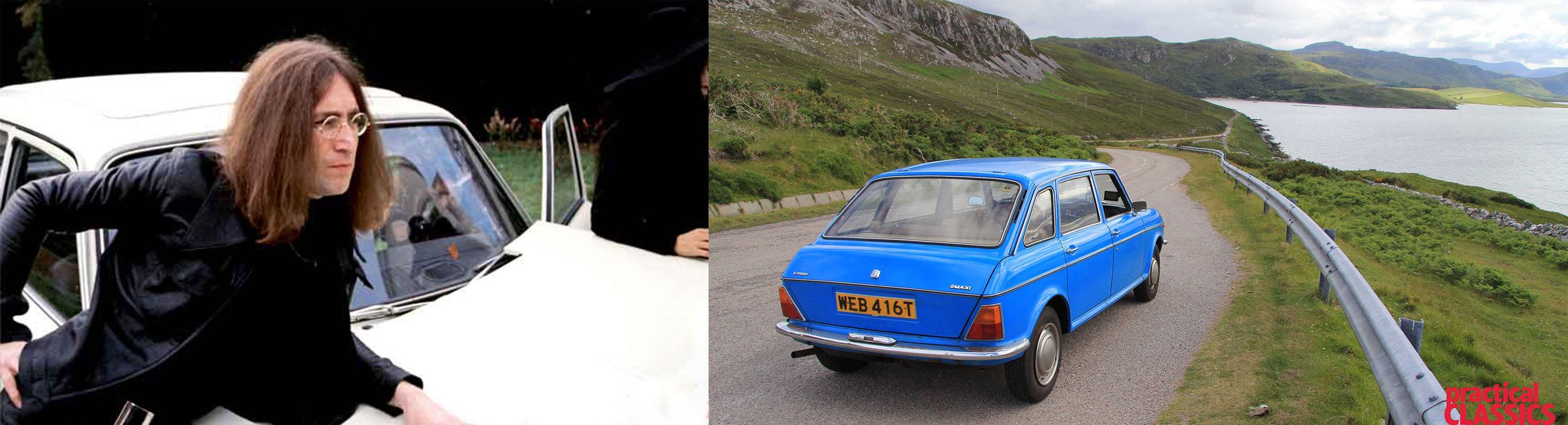 Lennon poses with the crashed Maxi (left) and James retraces his steps in northern Scotland (right).