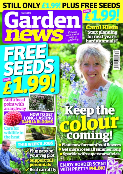 Carol Klein says plan for colour now! Hardy annuals give wonderful early displays and you can sow them soon. What will you choose?   The Garden News Team are planting out bulbs to flower in autumn, deadheading pinks, caring for summer houseplants, propping up perennials and sowing catch crops.   Our Garden of the Week is a harmonious space in Bristol whose owner works with wildlife, birds and bees.   This Week's Features: Plant now for beautiful blooms this winter; Sparkle with seasonal salvias; How to care for wildlife through summer.   Garden News Expert Contributors : Dave Gillam on dahlias and Dave Kenny on roses. Plus all our usual columnists!