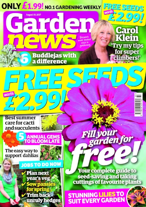 Carol Klein says the sky's the limit! Climbing plants, along with interesting supports, offer a different dimension to any garden   The Garden News Team are planning next year's veg garden, sowing pansies for spring, pruning unruly hedges, caring for bay trees and brassicas, and harvesting kohlrabi.   Our Garden of the Week is an upward-sloping Worcestershire garden that carefully nurtures Mediterranean plantings, hot beds and exotic specimens.   This Week's Features:  How to save seeds at home, making more of your favourite plants from cuttings, and lovely lilies!   Garden News Expert Contributors :Alasdair Glen on cacti and succulents, and John Peace and Ivor Mace on chrysanths.Plus all our regular columnists!