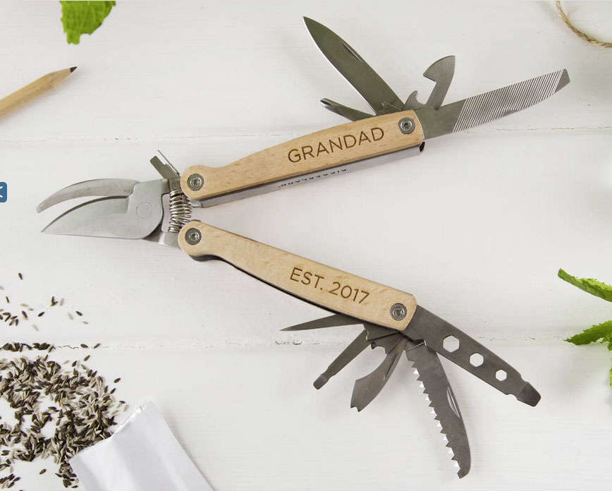 Personalised gardening pruner and multitool £32 by Twenty Seven at Not on the High Street 0203 318 5115; www.notonthehighstreet.com