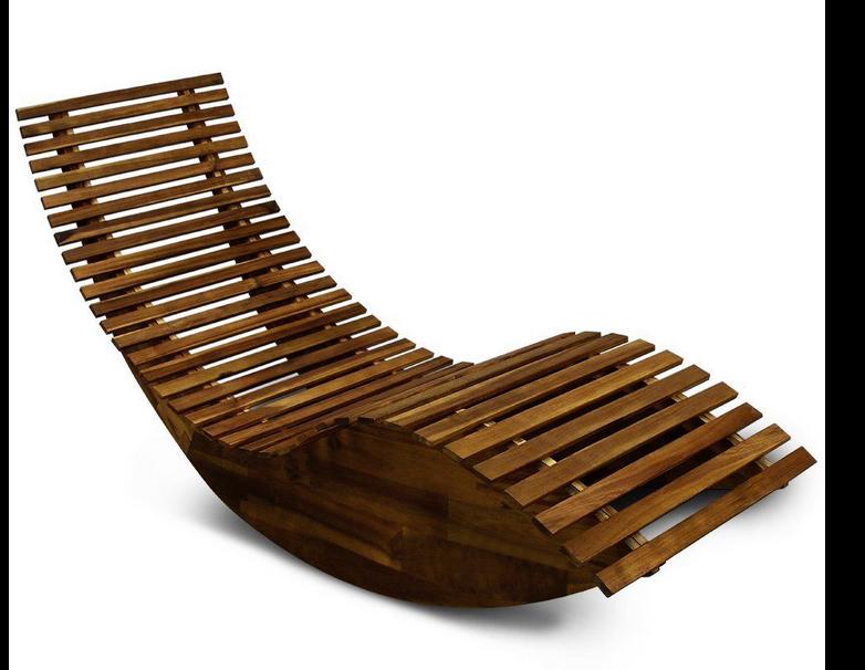 Ergonomic wooden sauna lounger