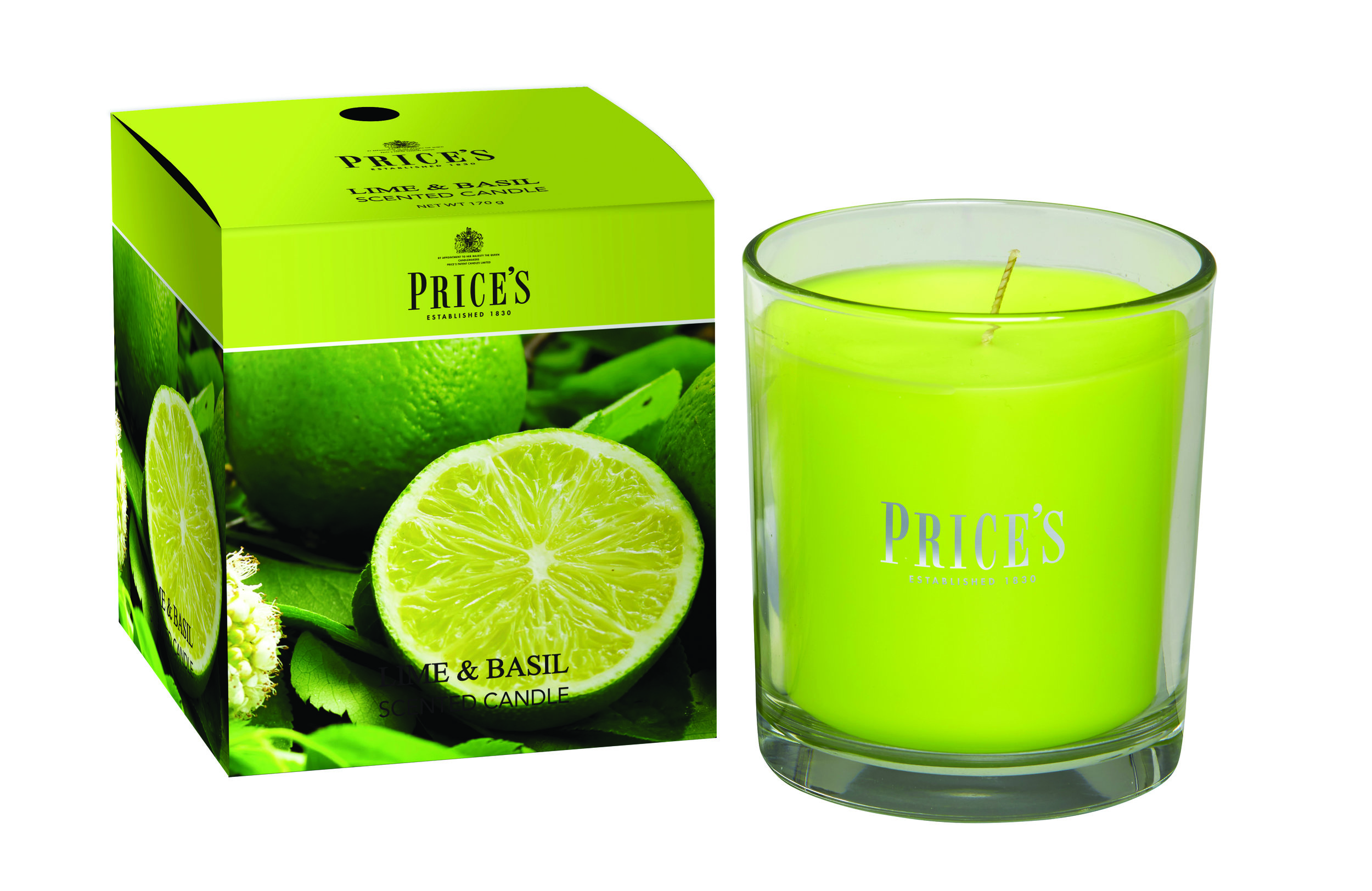 Lime and Basil Scented Boxed Candle Jar