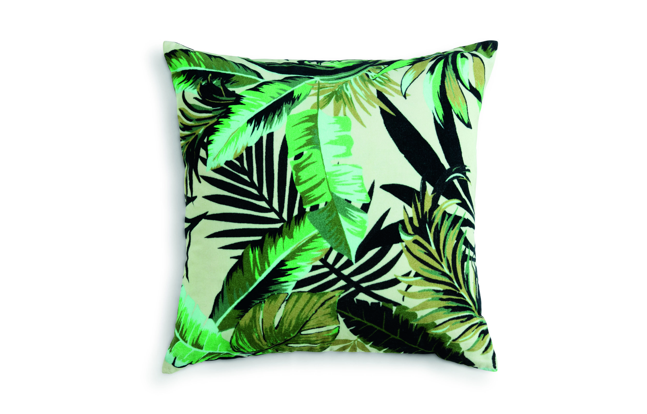Jangla velvet cushion in leaf green