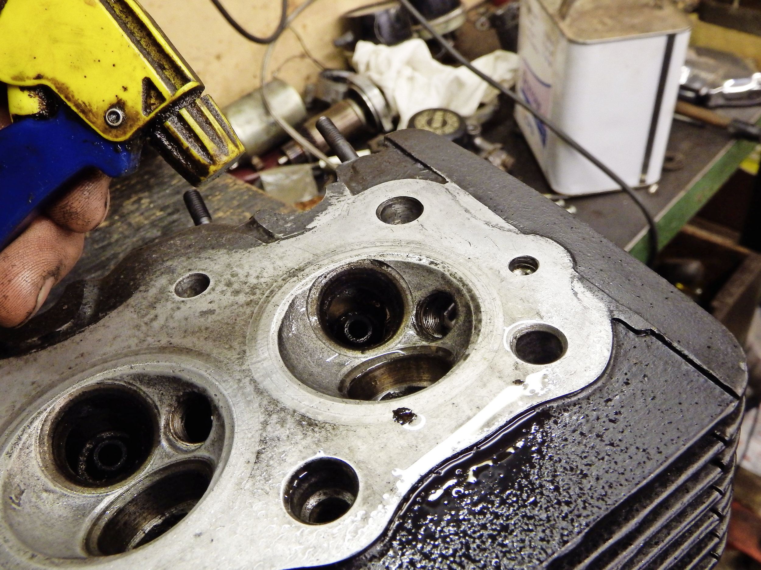 3.  After applying the grinding paste to the valve, a spray of WD40 or similar on the valve seat and in the guide will make grinding easier and smoother to carry out.