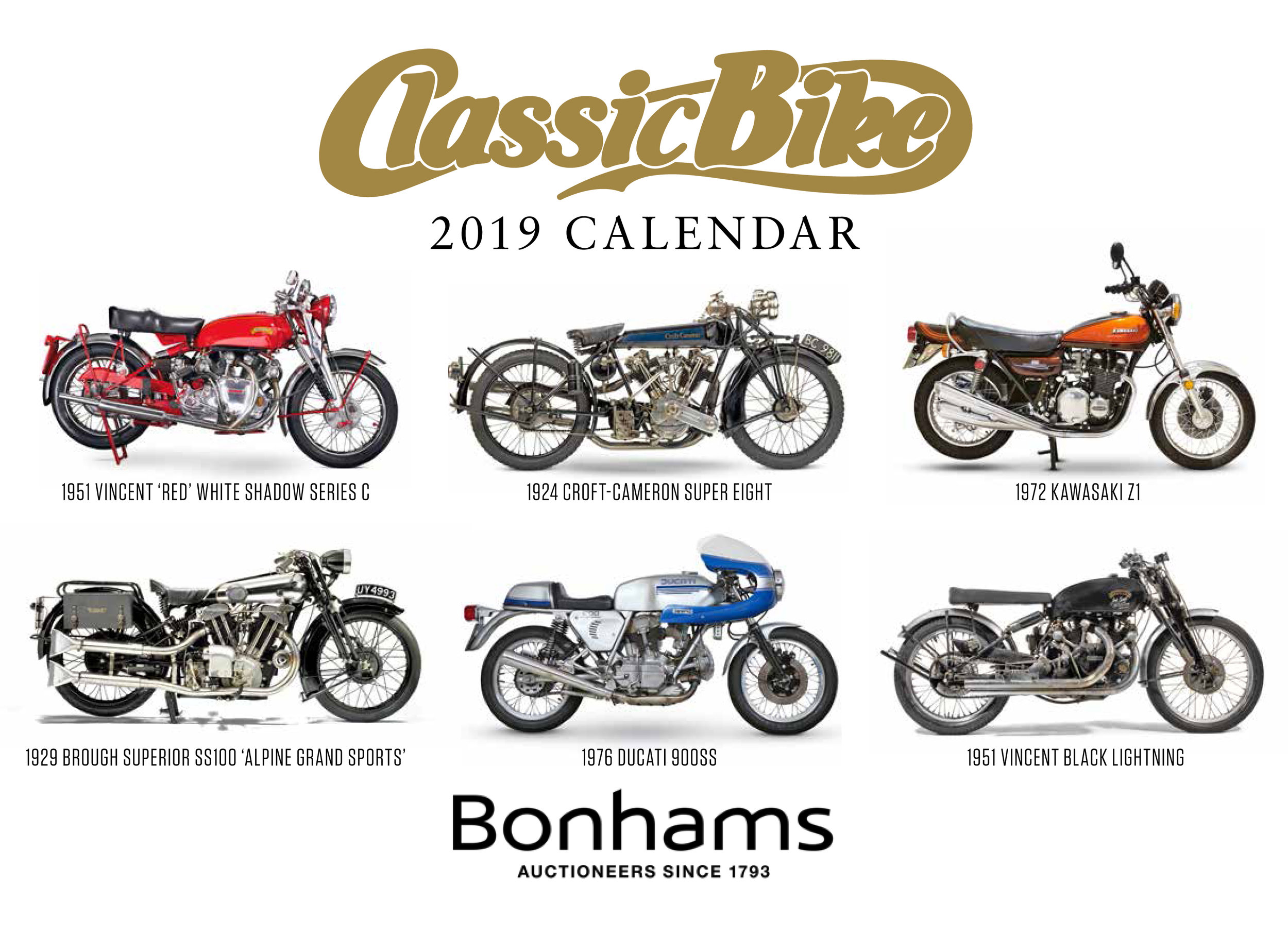 Free calendar with the December '18 issue of Classic Bike