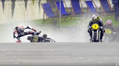 John McGuinness crashes in practice at Classic TT