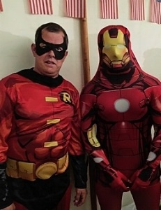 John McGuiness dressed as a super hero for the Goodwood Revival ball