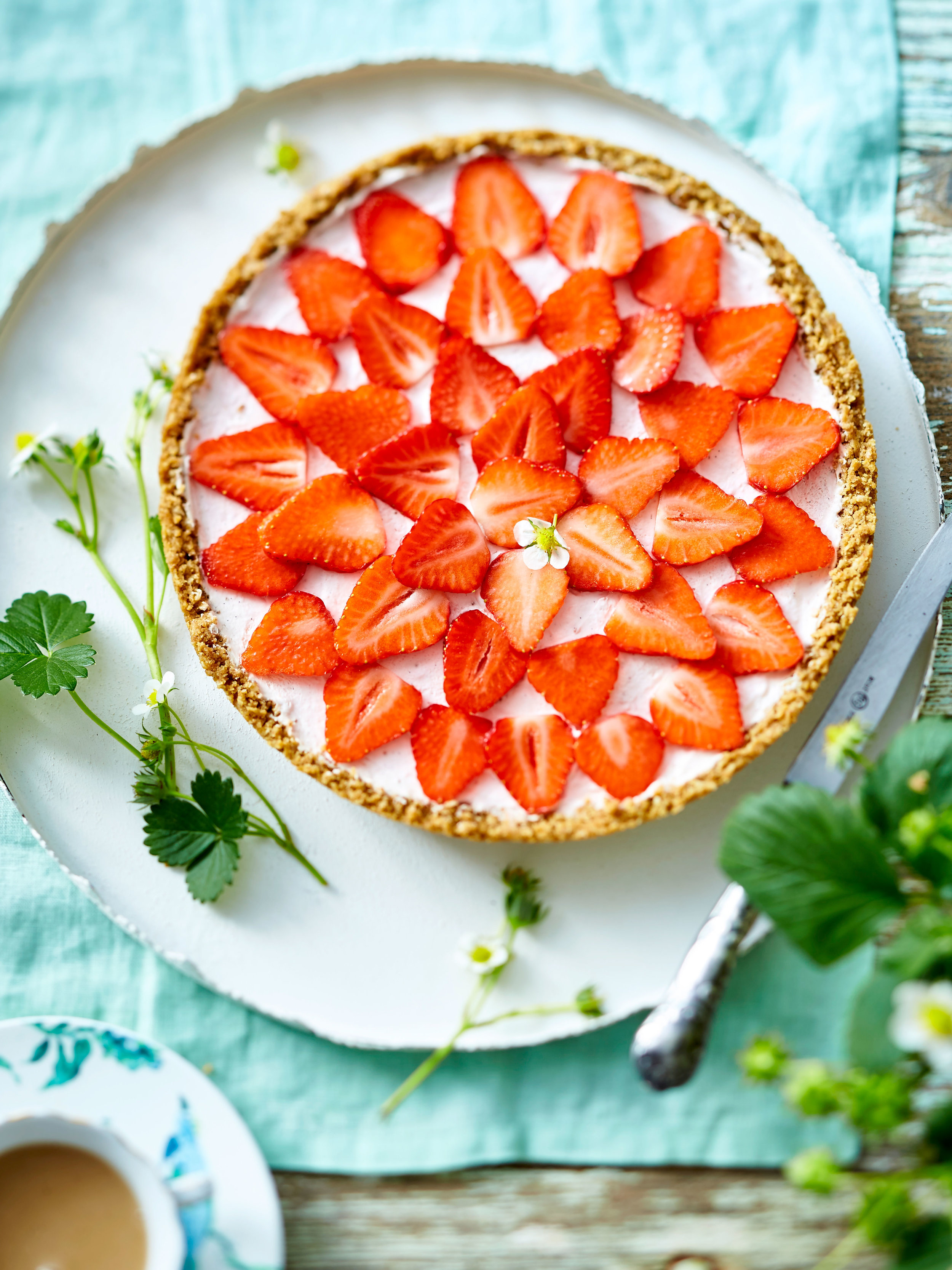 A simple, delightful pairing: strawberries and cream, in an easy to make tart. From a recipe in the June 2018 issue of LandScape