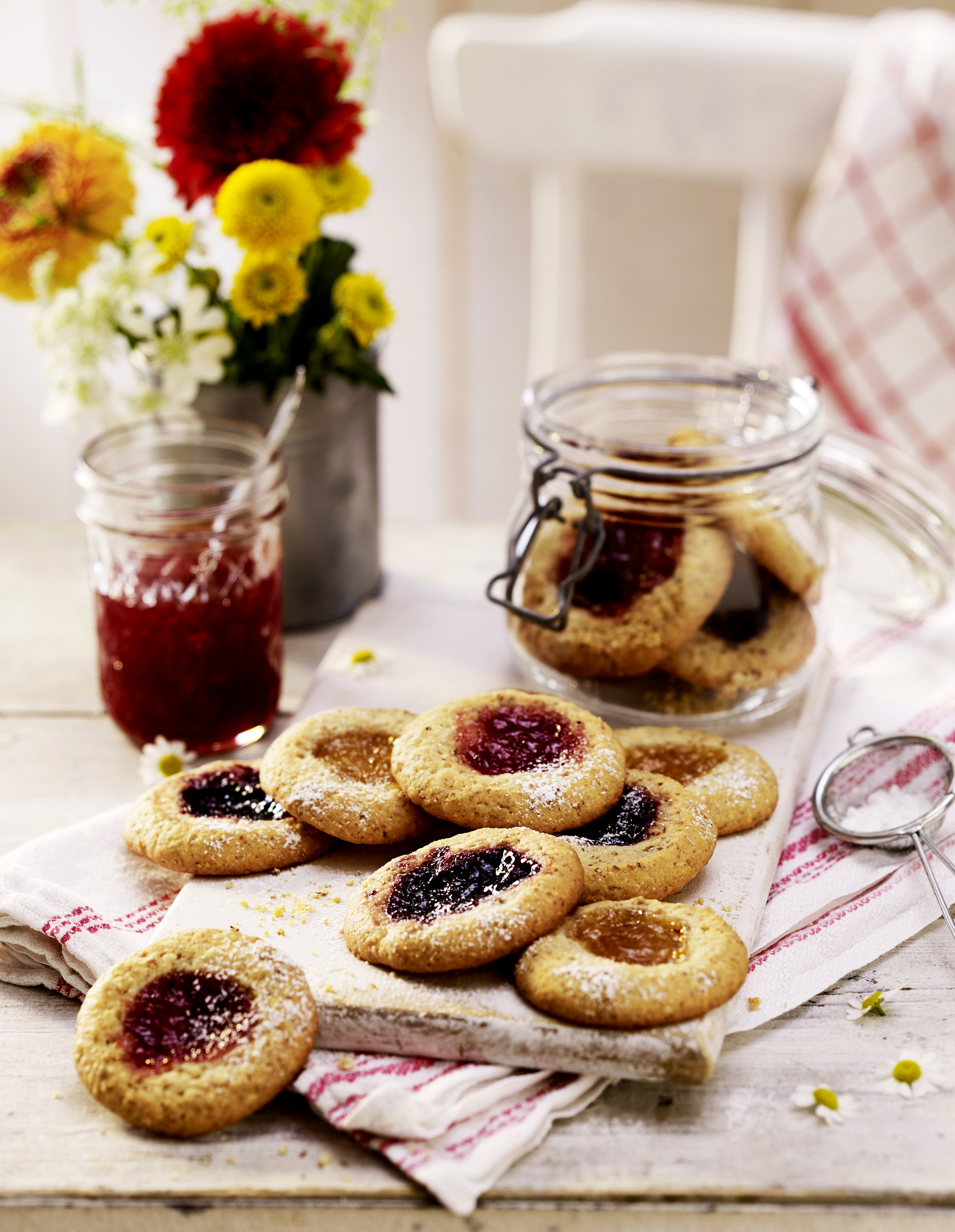 Golden cookies filled with sweet blackcurrant, strawberry and apricot jam for a tasty treat.