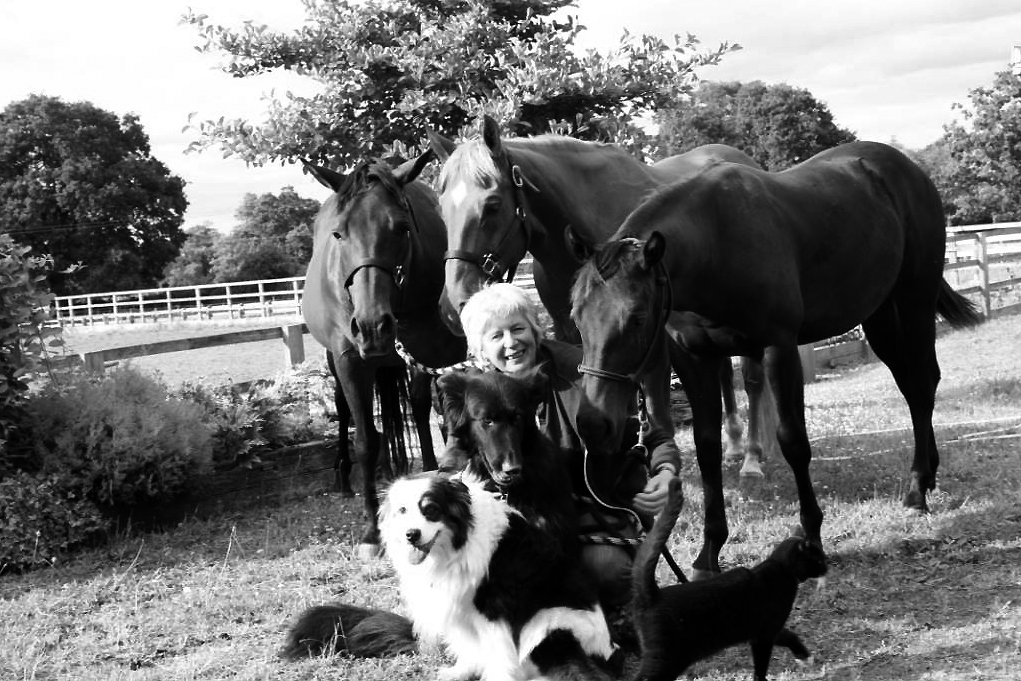 Gill Parker with her animals at her home in Gloucestershire.