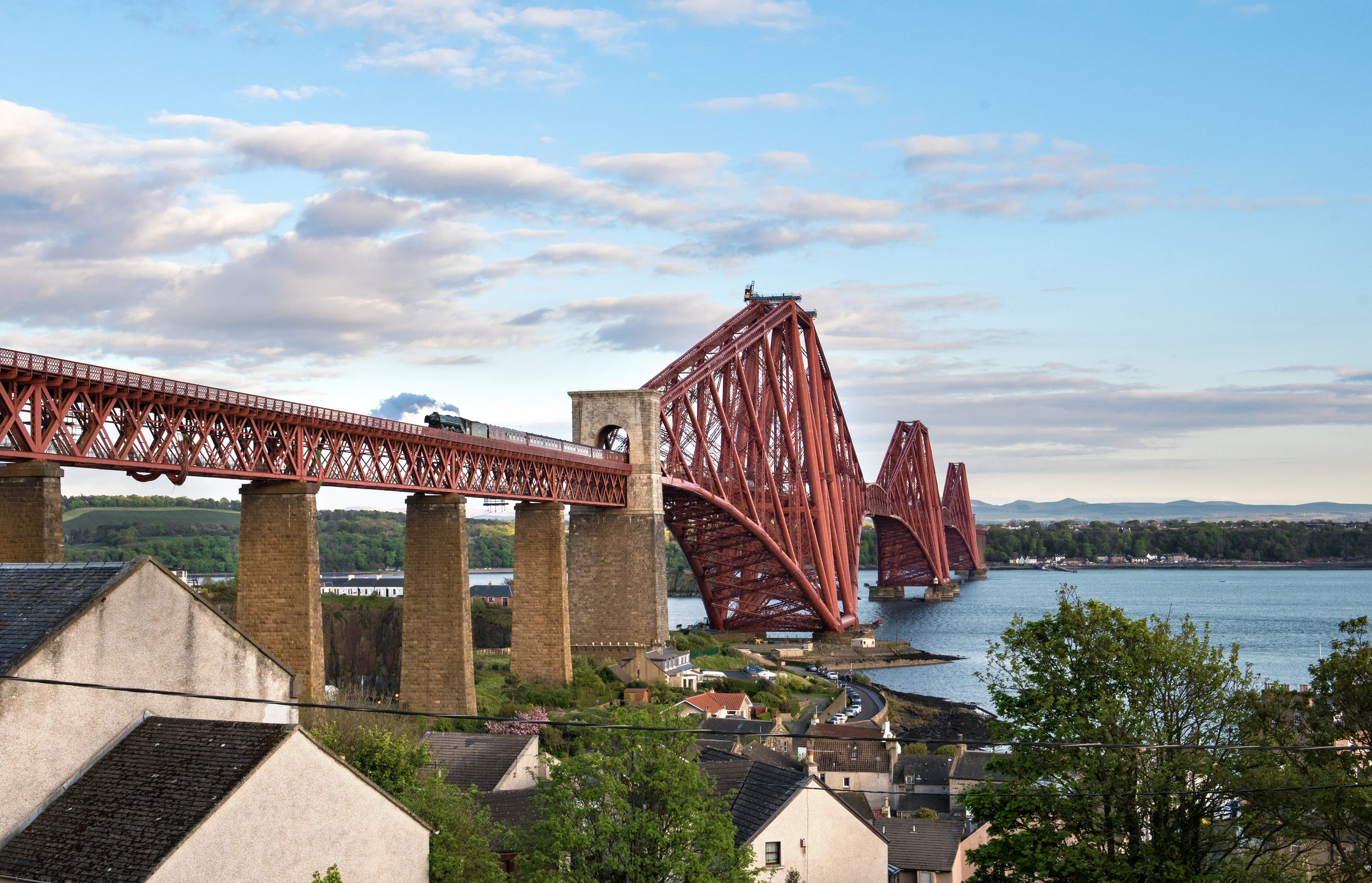 Flying Scotsman  became the first BR 'A3' to cross the iconic Forth Rail Bridge since the early 1960s on May 15. Credit: Jonathon Gourlay