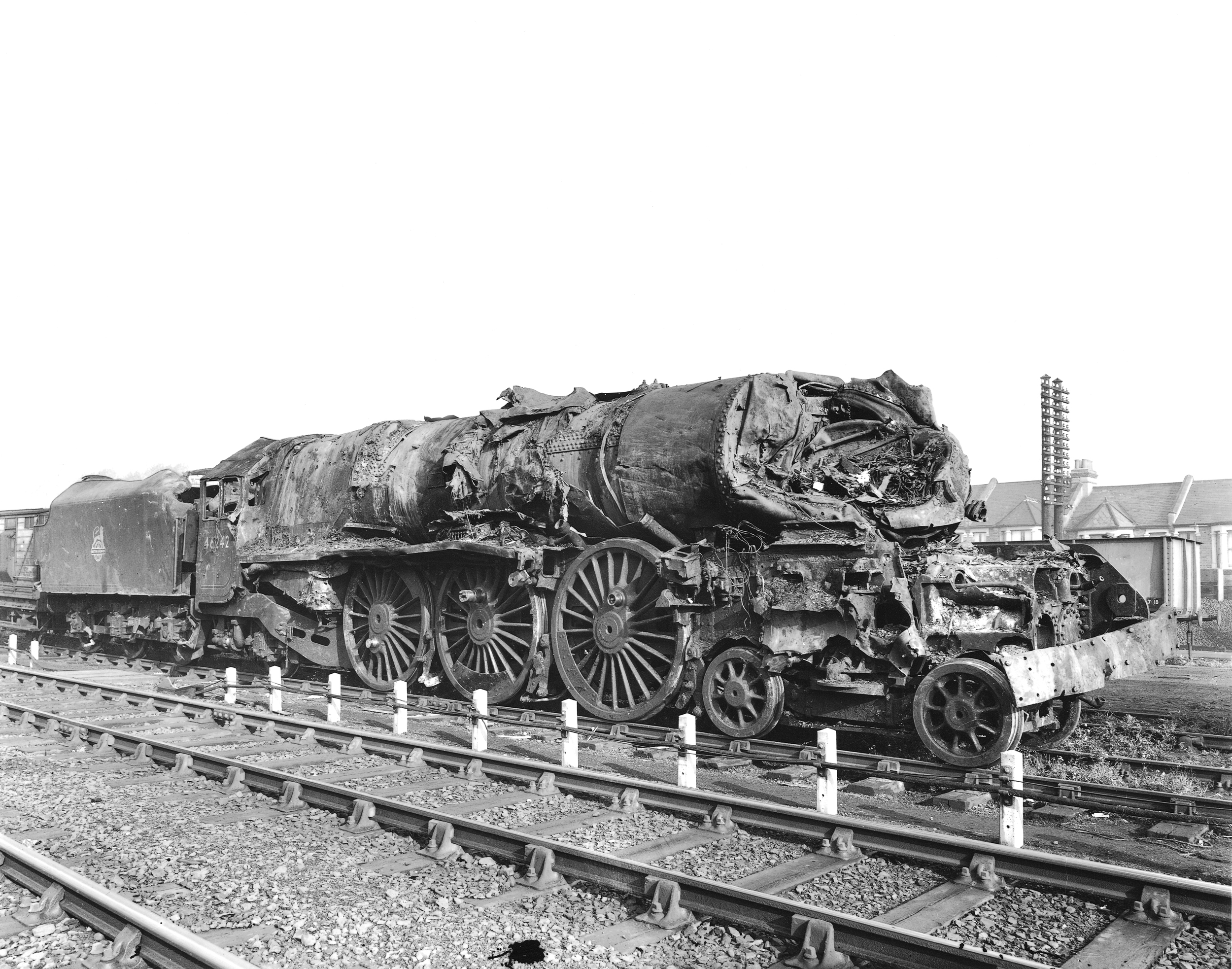 The battered remains of 'Princess Coronation' No. 46242  City of Glasgow  after the Harrow & Wealdstone disaster. The locomotive's crew were killed in the accident, along with 110 others. NRM