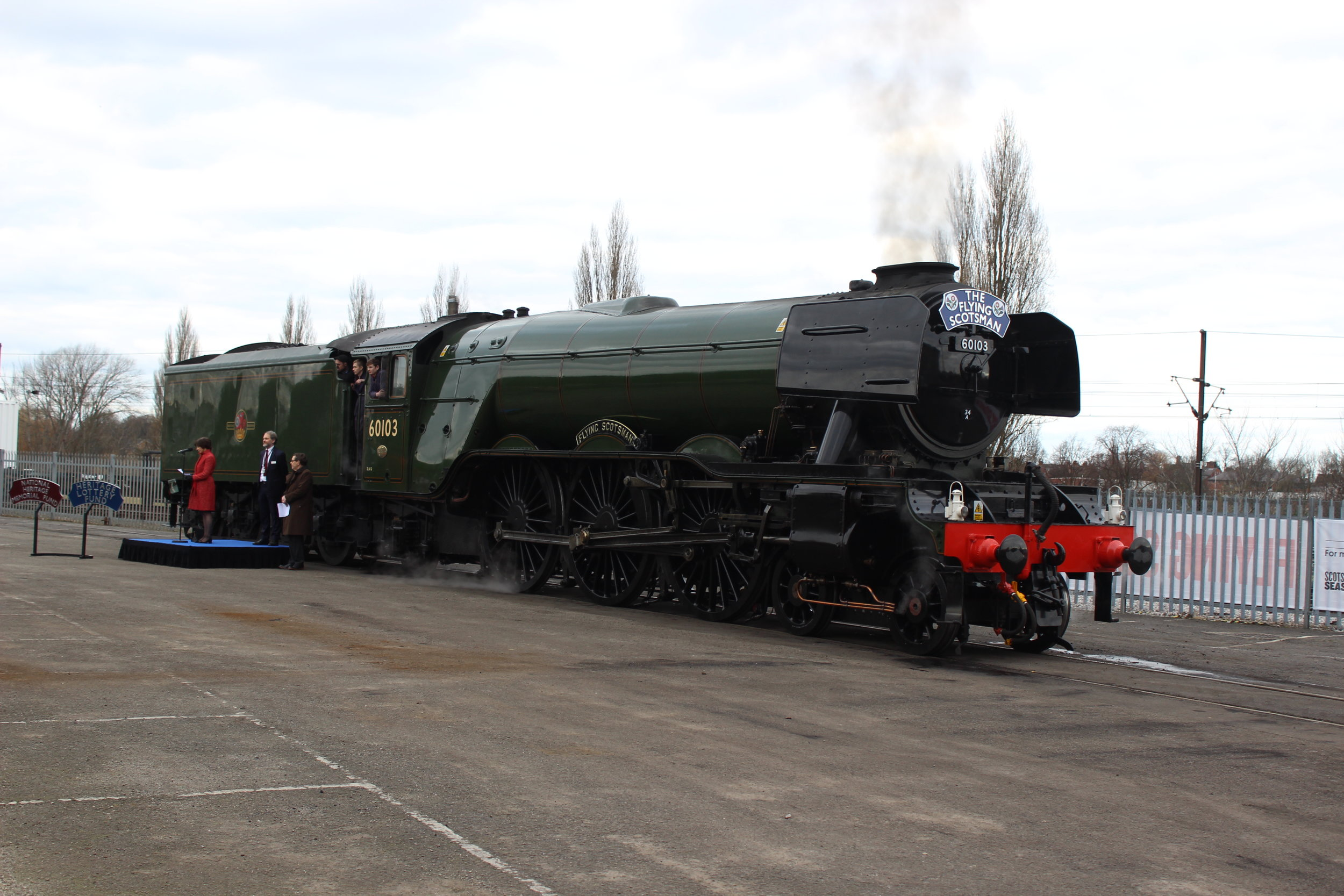 After a £6.8million restoration, 'A3' No. 60103  Flying Scotsman  makes a triumphant return to the National Railway Museum, following its inaugural main line run from King's Cross to York on February 25. TOM BRIGHT